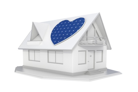 solar roof: 3d rendered solar panel heart on the roof of a white house