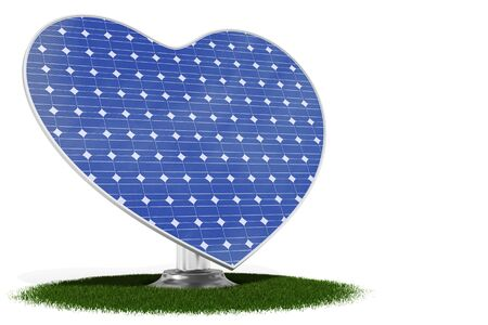 3d rendered heart shaped blue solar panel on green grass photo