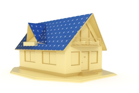 3d rendered solar panel house isolated on white background photo