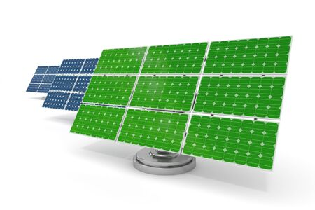 solar cells: 3d rendered blue and green solar panels isolated Stock Photo