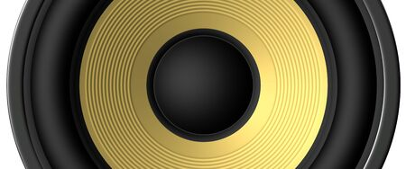 Yellow speaker closeup rendered for backgrounds photo