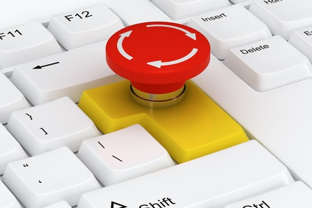 Special keyboard with emergency stop button on the enter key photo