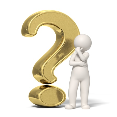 asking question: 3d guy thinking in front of a big gold question mark - Isolated icon Stock Photo