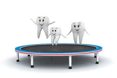 higiene bucal: 3d aislado de la familia del diente que se divierten en una cama elástica