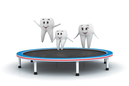 oral hygiene: 3d isolated render of tooth family having fun on a trampoline Stock Photo