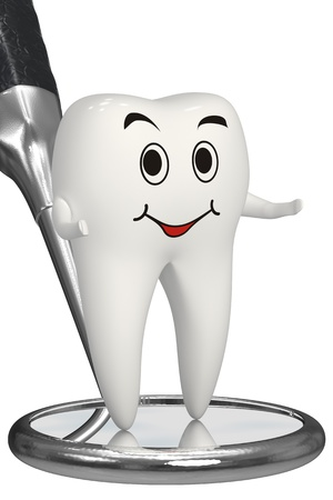 Happy tooth talking about dental inspection Stock Photo