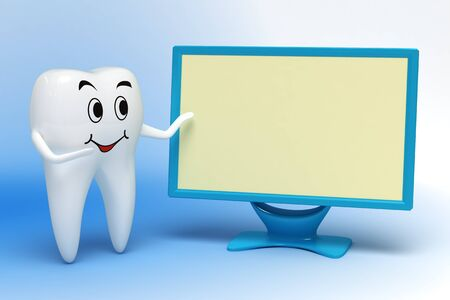 Smiling white tooth pointing to monitor