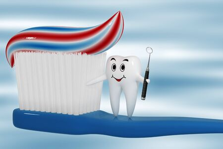 Diente de pie sobre un cepillo de dientes con un espejo en la mano