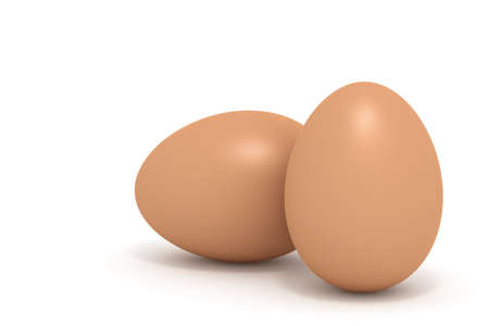 intact: High detail photo-realistic render of two chicken eggs on white background