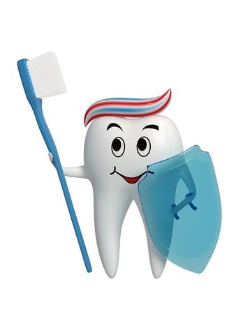 Dente in piedi con uno spazzolino da denti e uno scudo in mano