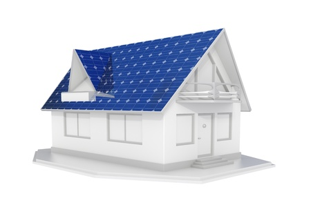 solar roof: 3d rendered white solar panel house islated