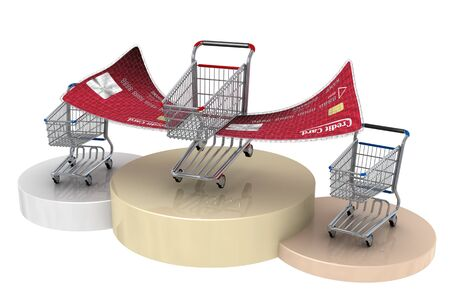 Shopping cart with credit card wings always wins photo