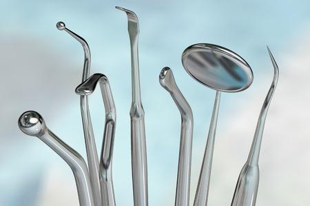 Photorealistic highly detailed dental instruments Standard-Bild