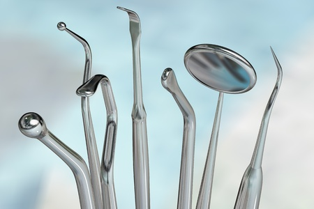 carver: Photorealistic highly detailed dental instruments Stock Photo