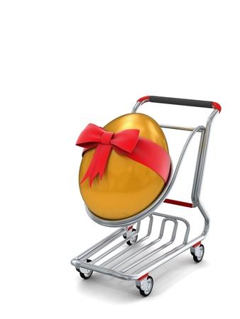 egg roll: Gold giant Easter egg in a shopping cart