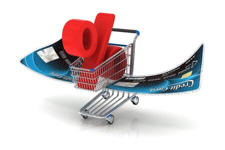 creditcard: Photo-realistic shopping cart with blue credit-card wings carrying a red percent symbol Stock Photo