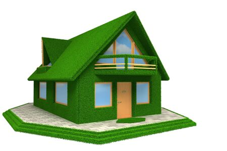 mansard: Photo-realistic green Grass House isolated on white Stock Photo