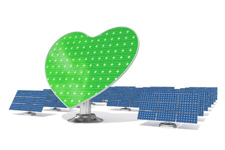 Heart shaped green solar panel leader in front of normal blue panels photo