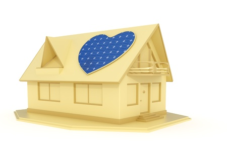 3d rendered heart shaped solar panel on a house isolated on white background photo