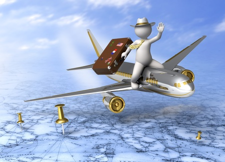 pin point: Holidays - 3d guy flying on a plane, carrying his suitcase - Tourism concept Stock Photo