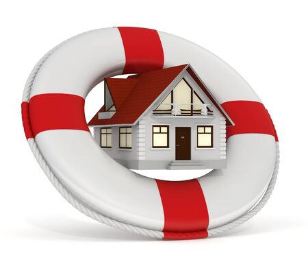 3d rendered house and lifebuoy concept as house insurance - Isolated photo