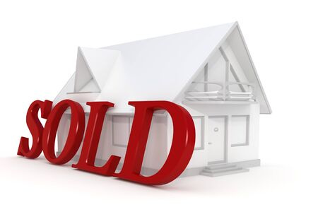 real estate sold: 3d rendered white house with a sold text isolated