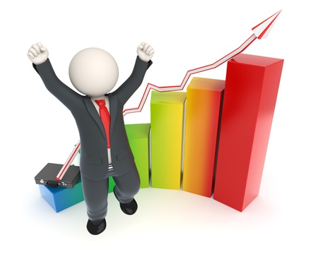 Happy 3d white business man in costume jumping in front of a colorful financial graph Standard-Bild