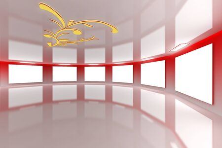 Modern virtual red gallery with floral design on ceiling photo