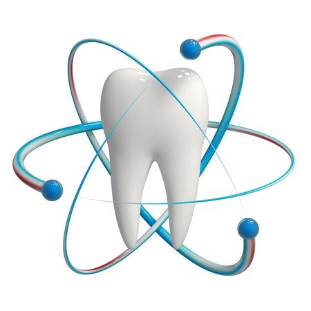 fluoride: Dientes con fluoruro de protecci�n icono aislado Foto de archivo