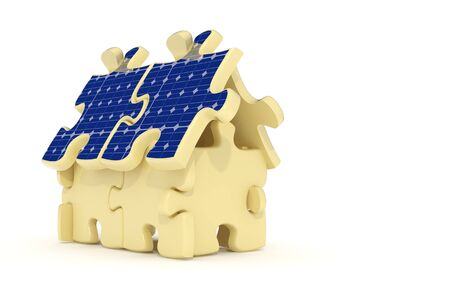 3d rendered solar panel house made from puzzles photo