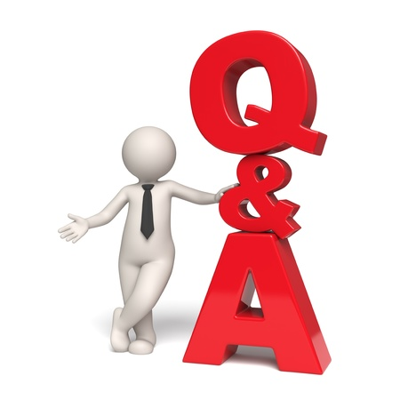 questions answers: Questions and answers icon with a 3d businessman standing near - Isolated