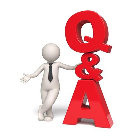 Vragen en antwoorden pictogram met een 3d zakenman staan in de buurt - Geïsoleerd Stockfoto