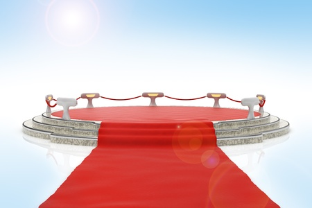 Red carpet onto stage on blue background with lens flare photo
