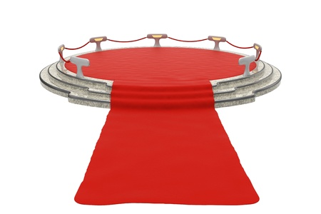 premiere: Photo-realistic illustration of a Red Carpet to a stage Stock Photo