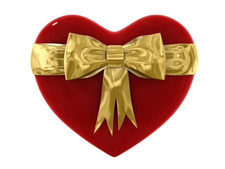 lustrous: Illustration of an Isolated red heart gift with a golden bow Stock Photo