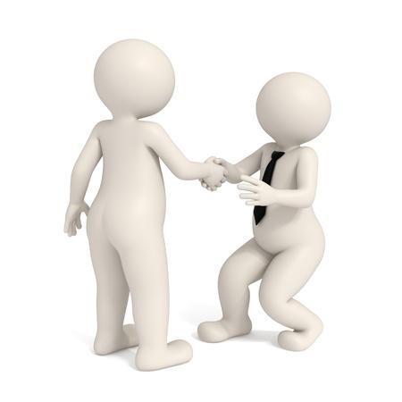 3D hombres dándose la mano - Intimidación de negocios Foto de archivo - 12181376