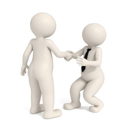 intimidating: 3d men shaking hands - Business Intimidation Stock Photo