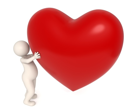 humanoid: 3d guy holding a big red heart in his hands - Valentine Stock Photo
