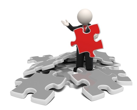corporate team: 3d business man showing the solutuion as a red puzzle concept