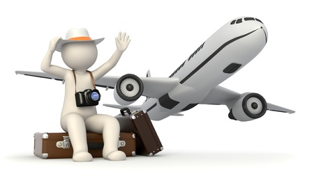 trip travel: 3d rendered white tourist with a digital camera waiting near his baggages and waving to the airplane - Image rendered with soft shadows