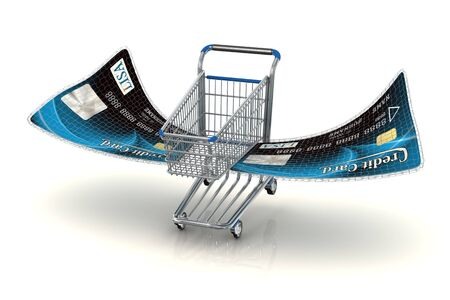 anonym: Photo-realistic conceptual shopping cart with credit card wings landing