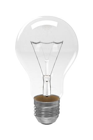 wolfram: 3d rendered photo-realistic clear light bulb Stock Photo