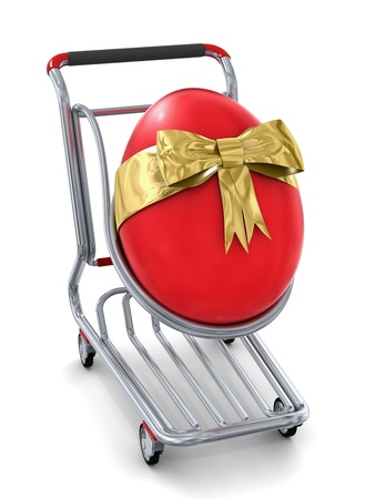 giant easter egg: Red giant Easter egg in a shopping cart Stock Photo