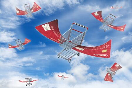 Flying shopping carts up in the sky photo
