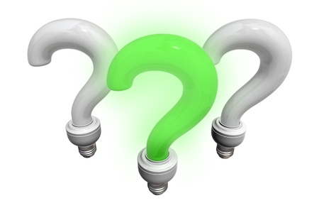 search query: Isolated white and green question bulbs