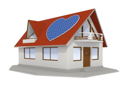3d rendered house with a heart shaped solar panel on the roof isolated photo