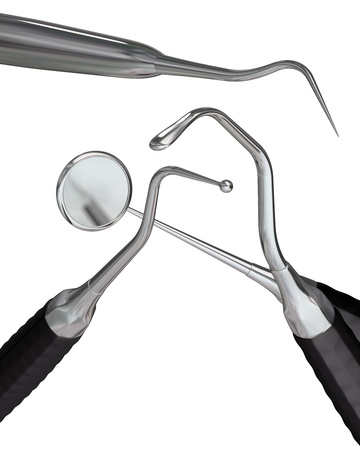 carver: Illustration of 3d rendered dental instruments isolated