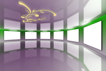Modern virtual green-violet gallery with floral design on ceiling photo