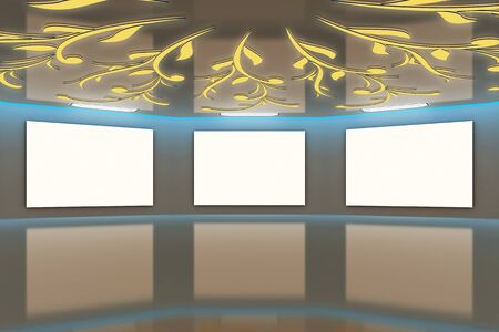 Modern virtual brown-blue gallery with floral design on ceiling photo