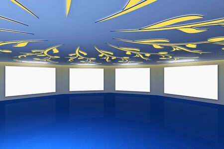 art gallery interior: Modern virtual blue gallery with floral design on ceiling Stock Photo